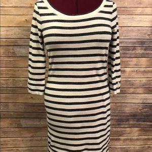 Banana Republic Gray&White Stripe 3/4Sleeve Dress